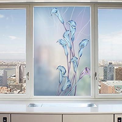 3d Películas decorativas estáticas,Película de la ventana de privacidad helado,Paisaje Vaso Baño casero Sala de reuniones Sala de estar Puerta corrediza Etiqueta engomada de la ventana Etiqueta-A 45x60cm(18x24inch): Amazon.es: Hogar