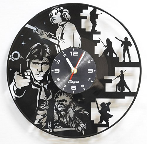 Star Wars Vinyl Wall Clock Art Decor for Living Room Wall Decoration for Bedroom Gift for Men Birthday Record Clock Star Wars Movie Home Decor Decal Darth Vader Luke Skywalker - Him Steampunk Gifts For