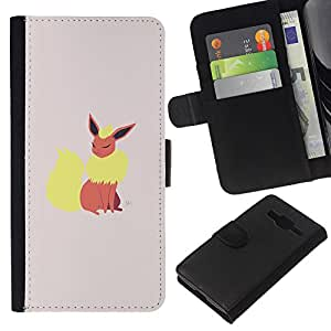 LECELL--Cuero de la tarjeta la carpeta del tirón Smartphone Slots Protección Holder For Samsung Galaxy Core Prime -- Elegante P0kemon --
