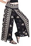 CandyHusky Women's Elastic Waist Bohemian Hippie Gypsy Harem Palazzo Print Pants (Floral 1 Black)