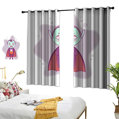 Creative and diverse interior and exterior curtains Halloween little vampire Dracula Boy kid with smiling face in halloween costume with pumpkin in his hands Blackout Living Room/Bedroom Window Curtai -