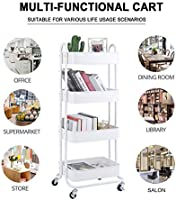 White 4-Tier Metal Mesh Utility Rolling Cart Storage Organizer Shelf Rack with Lockable Wheels for Living Room Kitchen Office