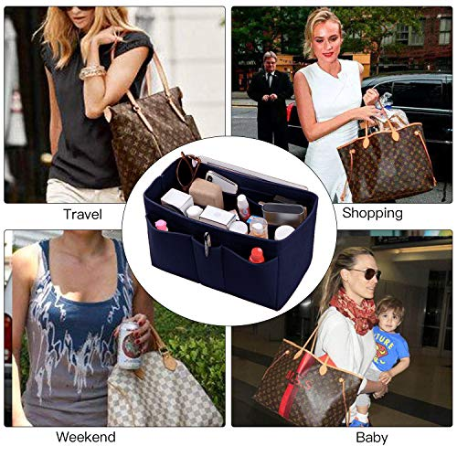 Purse Organizer Insert, Felt(3MM) Fabric Bag Organizer for LV Neverfull, LV Speedy, Purse Handbag Tote Bag, 3 Sizes, 8 Colors (medium, Purplish Blue) by ETTP (Image #6)