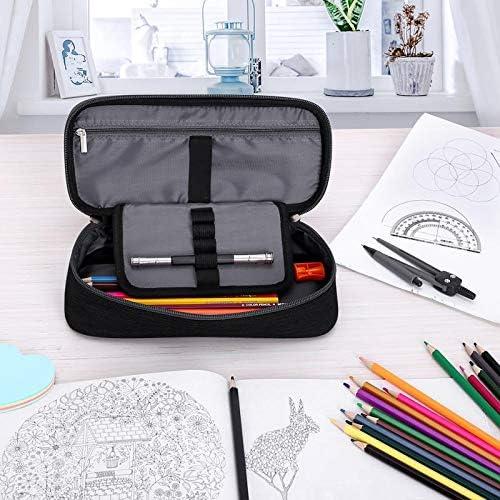 Luckyish Pencil Case Business Pen Case with Handle 600D Oxford Fabric Pencil Bag Dual Zippers Pencil Pouch Storage Makeup Bag for Men and Women Black