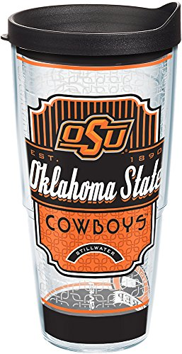 (Tervis 1229140 Oklahoma State Cowboys Pregame Prep Tumbler with Wrap and Black Lid 24oz, Clear)