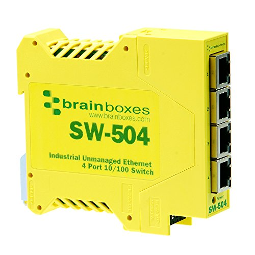 Brainboxes Switch - 4 ports - DIN rail mountable (SW-504) by Brainboxes