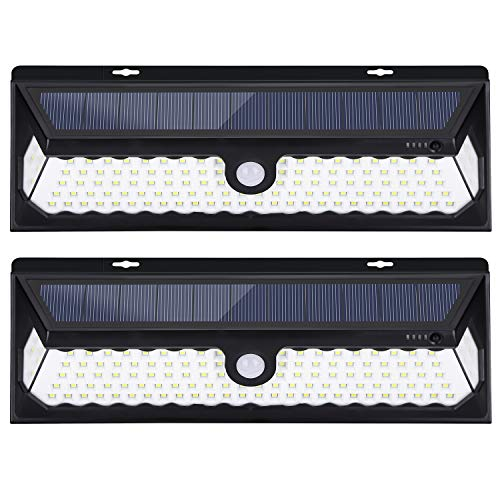 JSUNCK 118 LED Solar Lights Outdoor, Enhanced Super Bright Solar Motion Sensor Light with Front Switch, Wireless Wide Angle Waterproof Security Solar Light for Back Yard, Fence, Deck 2 Pack