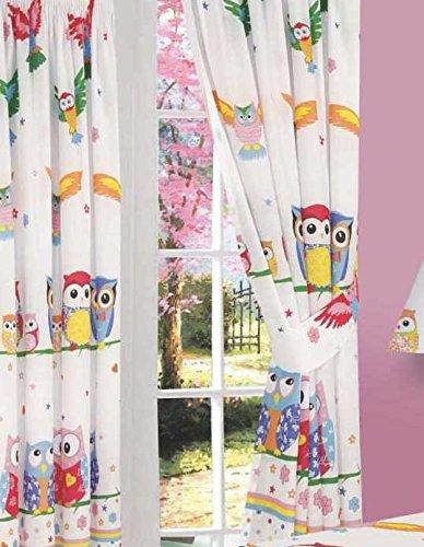 66 Width X 72 Drop Curtains, Owl Love, Flowers Hearts Stars Polka Dot  Stripes