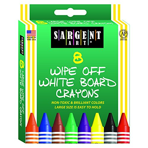 Sargent Art Wipe-Off White Board Crayons-8/Pkg