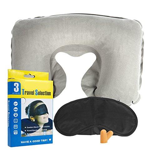 SIBOSUN Therapeutic Memory Foam Travel & Neck Pillow Set Inflatable Sleep Mask Eye Mask Earplugs Fright