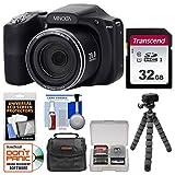 Minolta MN35Z 1080p 35x Zoom Wi-Fi Digital Camera (Black) with 32GB Card + Case + Flex Tripod + Kit