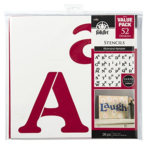 Richmond Plaid - FolkArt Die Cut Paper Stencils, 38960E Richmond Alphabet (26 Pack)