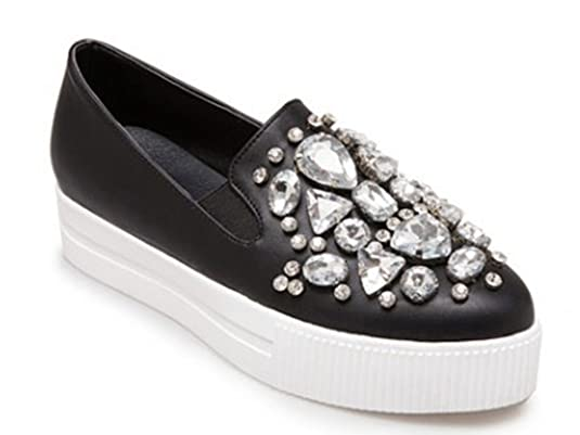 SHOWHOW Damen Neu Durchgängiges Plateau Pointed Toe Slip on Strass Loafers Sneakers Schwarz 36 EU 4l5FRoX