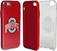 Ohio State Buckeyes Clear Hybrid Case for iPhone 6/6s with Red Insert and Guard Glass Screen Protector