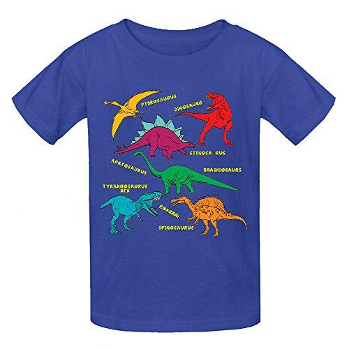 Dinosaur Colors Unisex Crew Neck Cotton T-shirt Blue