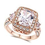 LAMOON Women's Eternity Love Princess Cut CZ Crystal Solitaire Promise Eternity 18K Gold Plated Ring Engagement For Her