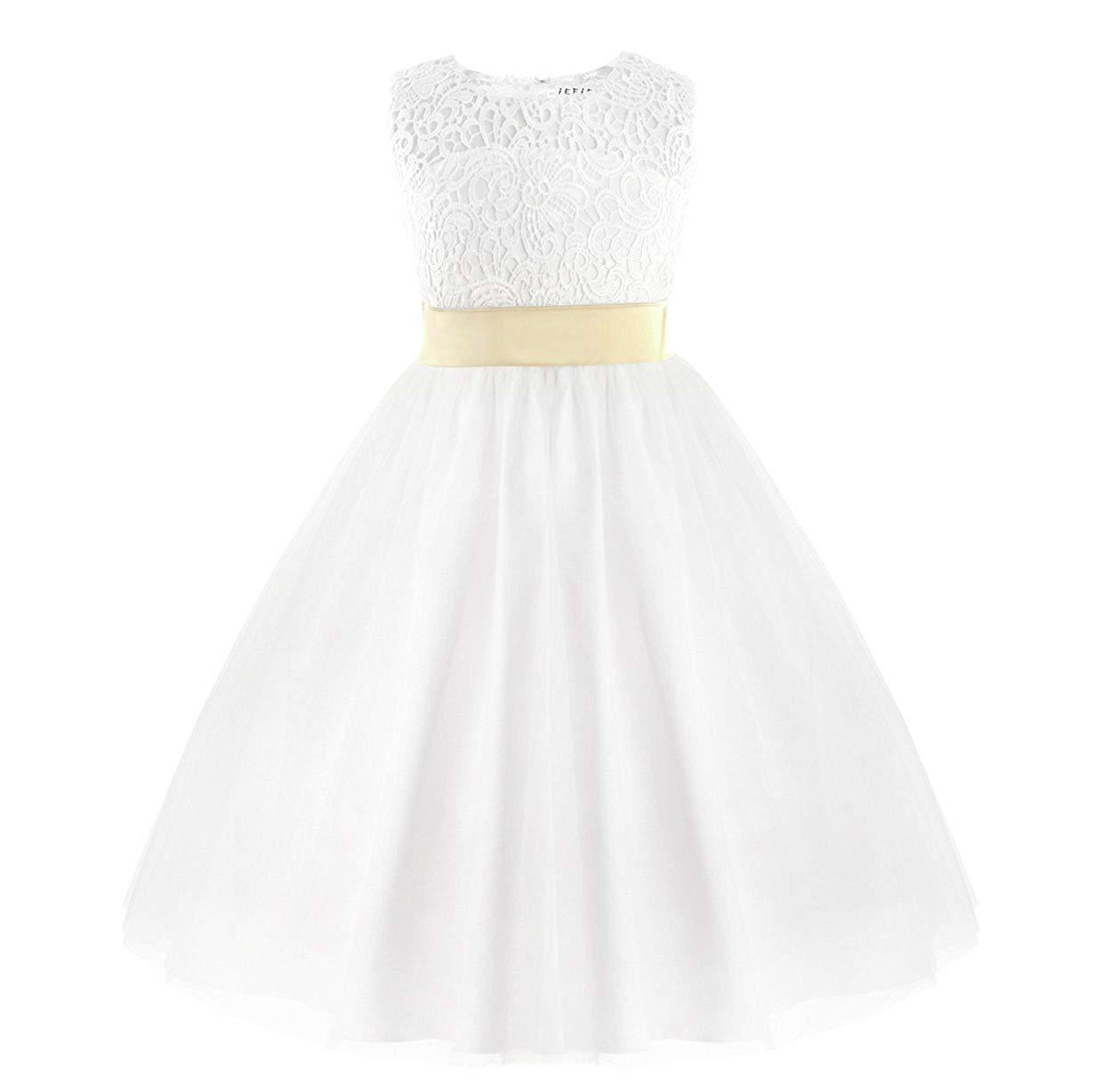 Blanc avec Noeud 3-6 mois MJY Fille De Fleur De Mode Robes De Dentelle Enfants Coeur Retour Communion Baptême De Mariage Demoiselle D'honneur Robe De Fête,Blanc avec ceinture,9-10 ans