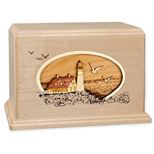 (Wooden Companion Cremation Urn with Coastal Lighthouse 3-Dimensional Wood Inlay Art Funeral Urns for Ashes Made in the USA (Companion Urn for Two, Portland Head Light, Maple))