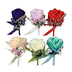 CSPRING 6PCS Silk Rose Boutonniere Corsage Classic Artificial Groom Flowers Brooch with Pin and Clip for Wedding Prom Party by 82