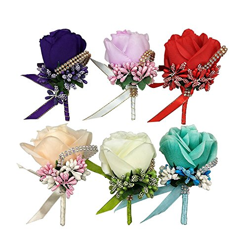 CSPRING 6PCS Silk Rose Boutonniere Corsage Classic Artificial Groom Flowers Brooch with Pin and Clip for Wedding Prom Party by