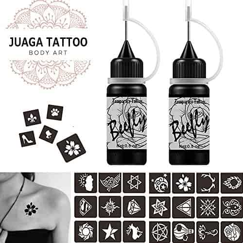 Jagua Temporary Tattoos Kit, Jagua Gel Semi Permanent Tattoo Freehand Gel/Ink (Organic Jagua Fruit Based) Dozens Pcs Free Stencils,DIY Tattoos Fake Freckles, Full Kit 2 Bottles(1oz)