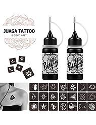 Jagua Temporary Tattoos Kit, Jagua Gel Semi Permanent Tattoo Freehand Gel/Ink (Organic Jagua Fruit Based) Dozens Pcs Free Stencils,DIY Tattoos Fake Freckles, Full Kit 2 Bottles(1oz)