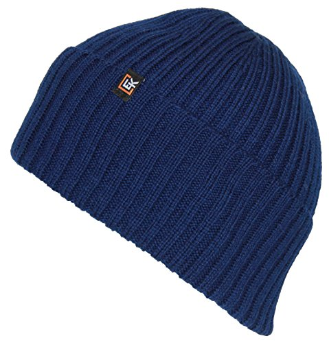 - Evolution Knitwear 100% Wool Rib Knit Beanie Hat Cap for Women & Men (Navy)
