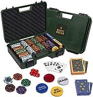 RUNIC Exclusive Poker Set 300 pcs, 14 Gram Clay Poker Chips for Texas Holdem, Black Jack, Casino Grade Chips,