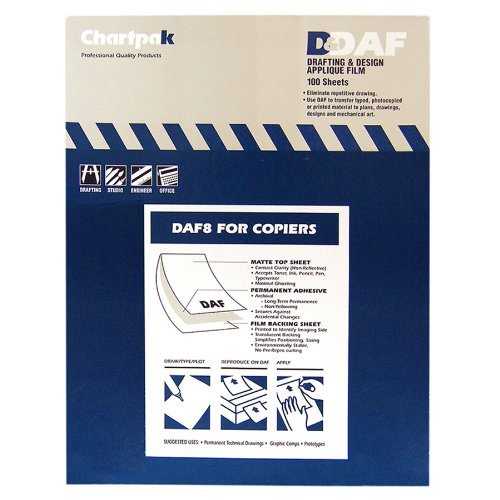 - Chartpak DAF8 Self-Adhesive Drafting Applique Film for copiers, 8-1/2x11, 100 Matte Sheets/Box