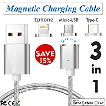 3 in1 Magnetic Charging Cable USB,Type C Charging for Iphone Micro Fast Lightning Update Adsorption Nylon Braided 7 7plus 6 6s 6plus 5 5s Ipad lg v20 G5 G6 Cable for Oneplus (3in1 Silver)