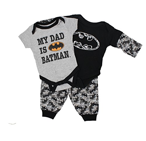 D.C Comics Baby Boys Full 3 Piece Set – My Dad Is Batman, 3-6 M