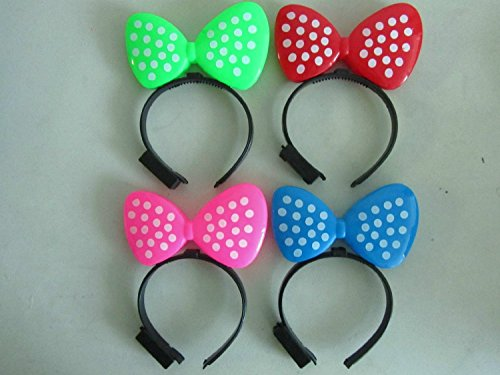 t 12 Pcs Flashing Light up Minnie Ear Polka Dots Head Band Girls Party Favors ()