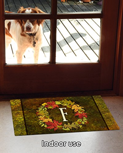 Toland Home Garden Fall Wreath Monogram F 18 x 30 Inch Decorative Autumn Floor Mat Colorful Leaves Doormat
