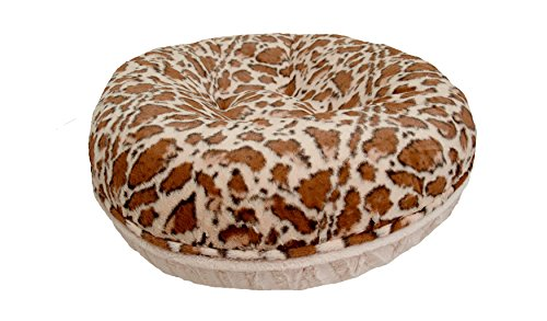 BESSIE AND BARNIE Signature Giraffe Natural Beauty Extra Plush Faux Fur Bagel Pet Dog Bed Multiple Sizes