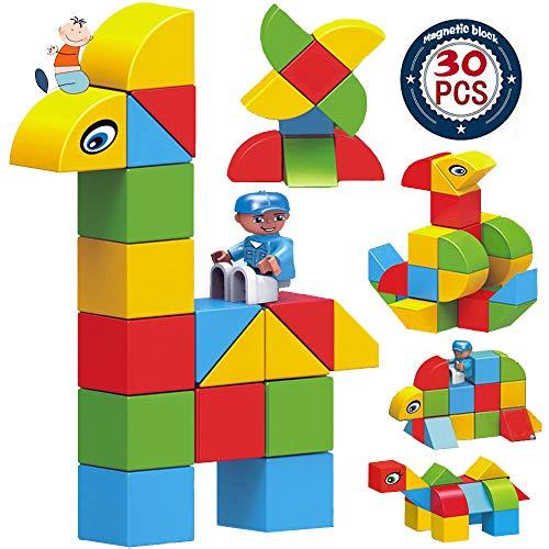 Magnetic Blocks Set for Kids ,30pcs Educational Blocks with Shapes, Colorful Stacking Blocks - BPA Free ()