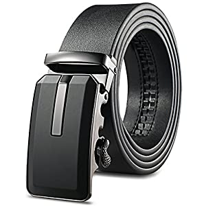 Men's Black Leather Ratchet Dress Belt with Automatic Buckle jeans Uniform belts for boys