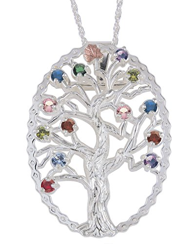 (Multi Gemstone Tree Pendant Necklace, Ruby Sterling Silver, 12k Green and Rose Gold Black Hills Gold Motif,)