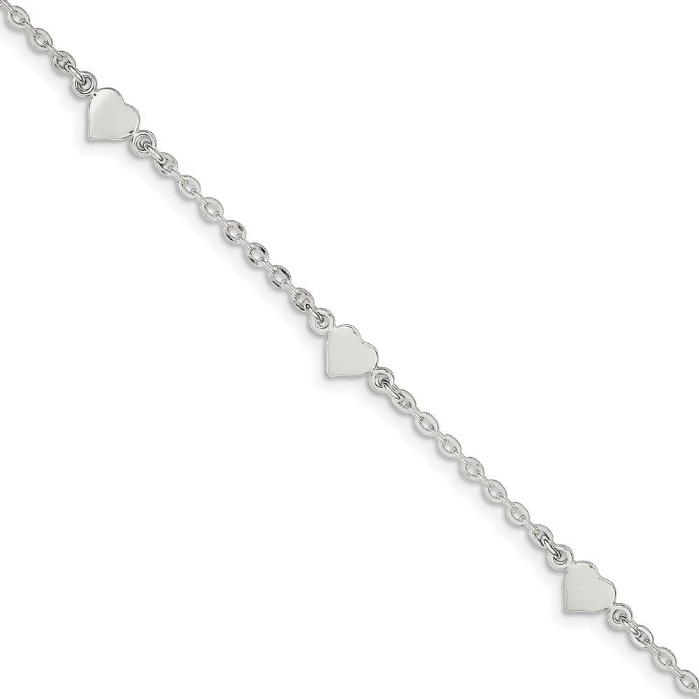 6mm with Secure Lobster Lock Clasp Jewel Tie 925 Sterling Silver 9 Polished Heart with 1in ext