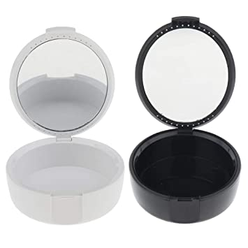 Amazon com: Fityle 2 Pack Denture Storage Box With Mirror