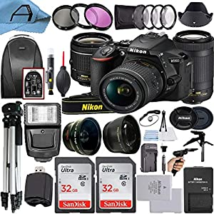 Nikon D5600 DSLR Camera 24.2MP Sensor with NIKKOR 18-55mm VR and 70-300mm Dual Lens, 2 Pack SanDisk 32GB Memory Card…