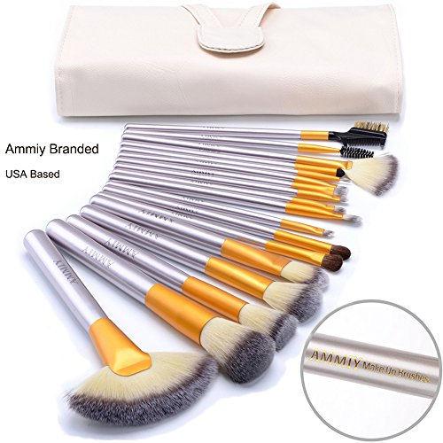 Ammiy Branded 18 Pcs Makeup Brush Set Professional Wood Handle Premium Synthetic Kabuki Foundation Blending Powder Brush Tool ( White Case Bag, Located In USA Get Delivered In 3-5 Working - Branded Wood
