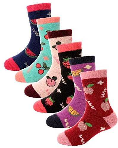 Boys Girls Wool Socks For Child Kid Toddler Thermal Warm Thick Cotton Winter Crew Fun Socks 6 Pairs (Fruits, 8-12 -