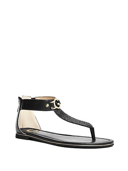 1735fae0add4 GUESS G Women s Durans Logo Rhinestone T-Strap Sandals Black Multi 7.5 ...