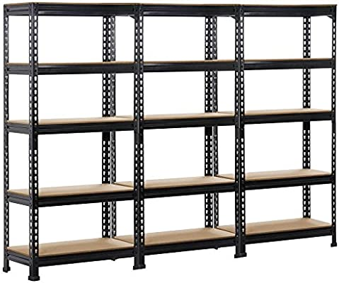 Topeakmart 3 Pack Heavy Duty 5 Tier Commercial Industrial Racking Garage Shelving Unit Adjustable Display Stand 59 1 Inch Height