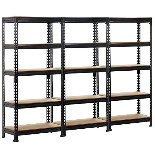 Yaheetech Black Steel Boltless Rivet Rack, 5 Adjustable Shelves, 59.1inch Height, 3 Pack