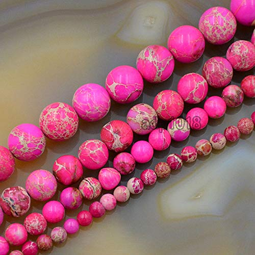 AD Beads Natural Sea Sediment Jasper Gemstone Round Beads 16'' 4mm - 12mm (8mm, Pink)