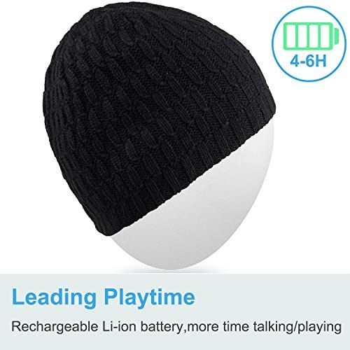 Bluetooth Beanie HatQshell Washable Winter Men Women Cap with Wireless Stereo Headphones Mic Hands