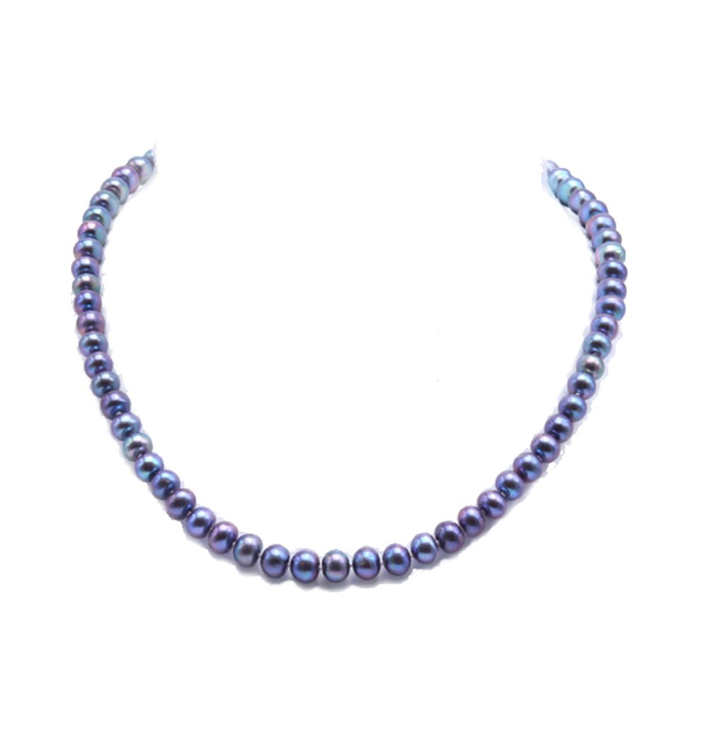 JYX 7-8mm Near-round Black Cultured Freshwater Pearl Necklace 18''