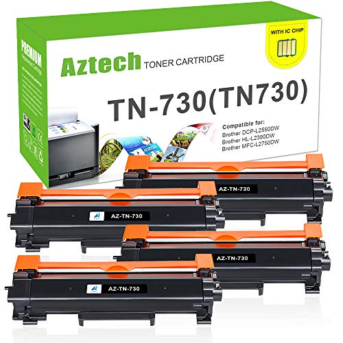 With Chip-Aztech 4 Pack Compatible for Brother TN730 TN-730