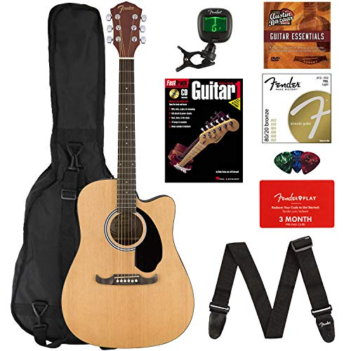 Fender FA-125CE Dreadnought Cutaway Acoustic-Electric Guitar Bundle with Gig Bag, Strap, Strings, Tuner, Picks, Fender Play Online Lessons, Instructional Book, and Austin Bazaar Instructional DVD